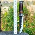 LCM66 охотничий нож с прямым лезвием тактический нож фиксированные ножи  резной узор + деревянная ручка Открытый нож выживания  кемпинг спасат...