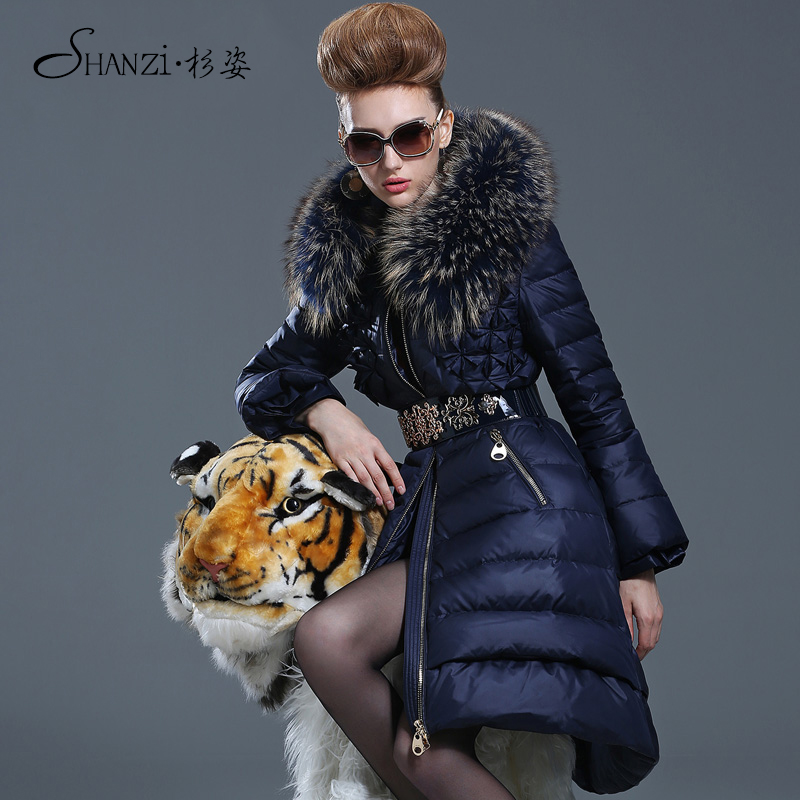 2015 new Hot winter Thicken Warm Woman Down jacket Coat Parkas Outerwear Hooded Raccoon Fur collar long plus size 2XXL Luxury