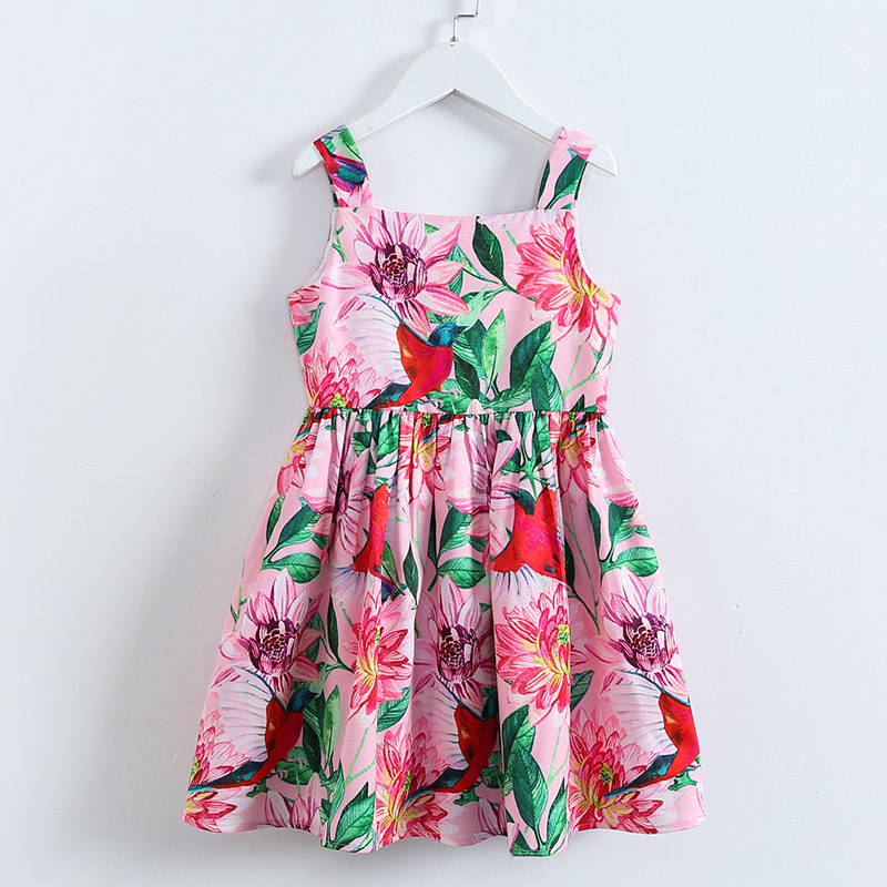Summer brand children fashion clothes kids 4Y-14Y girls flower print holiday overalls dress student girl pink casual beach dress cptcam cp3006 mini ultrasonic distance measurer w laser pointer orange black 1 x 23ae 12v