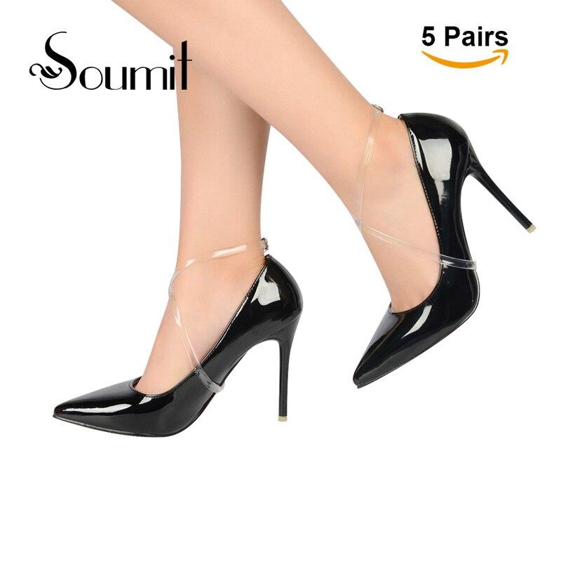 5 pāru augstas kvalitātes 58CM neredzamas elastīgas caurspīdīgas potītes kurpes ar kurpju aizsargapvalku augstpapēžu apaviem