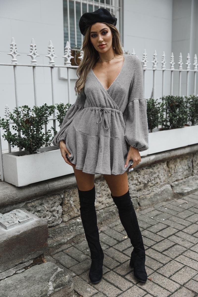280ffcd3b4e Fall Fashion Sweater Dress Women Long loose Deep V-neck Criss-Cross Lantern Sleeve  Sexy Knit Sweaters Dresses Woman tops