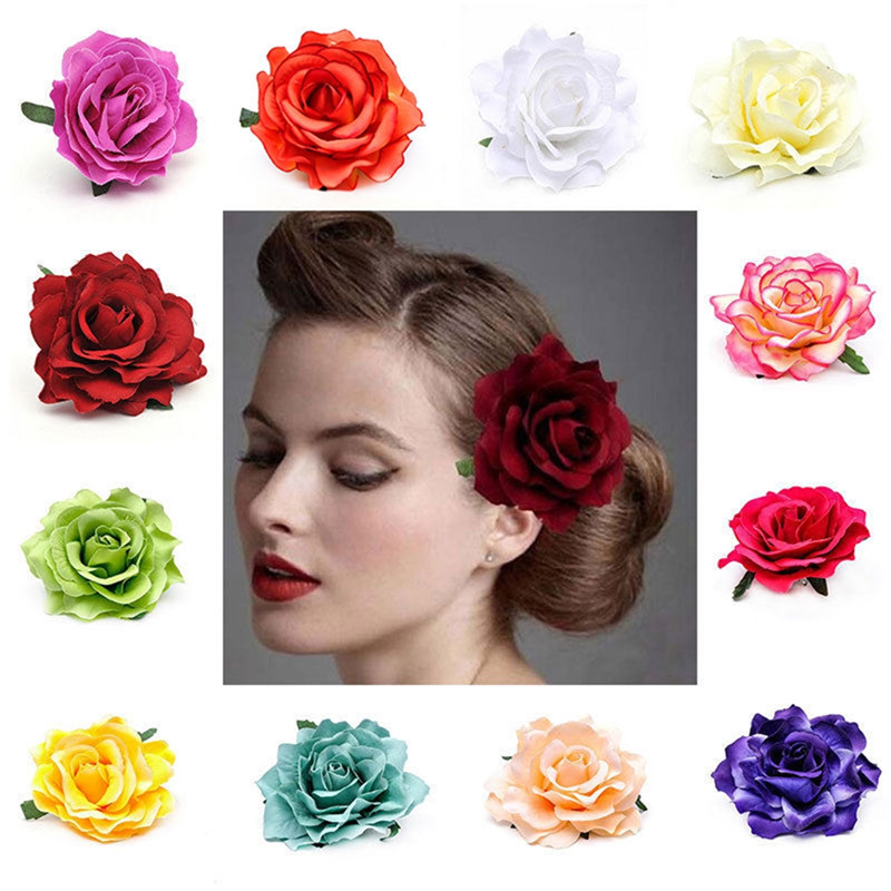 Big Blooming Multi Colour Rose Flower Wedding Bridal Hair Clips Headpiece Brooch Hairpin Women Girls Best Jewelry Accessories ...