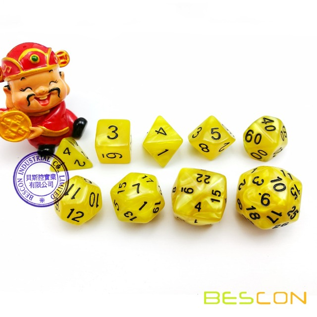 BESCON Set of 9 Polyhedral Dice D30 D24 D20 D12 D10 D8 D6 D4 Game Dice Set Dungeons and Dragons DND MTG RPG Die Marble Yellow