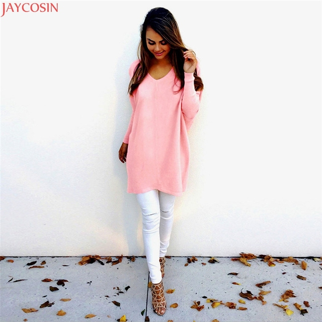 2be3c1fe66 2018 JAYCOSIN SweatersFashion Autumn Winter Dress Womens V-Neck Loose  Knitted Oversized Baggy Sweater Jumper Tops Dress Outwear