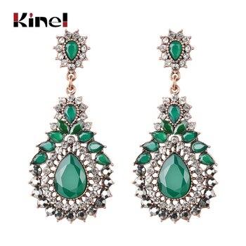 d3db5b21604f Pendientes étnicos de lujo Kinel para Mujer Flor de cristal verde boda  joyería Vintage pendientes colgantes de oro antiguo Bohemia regalo