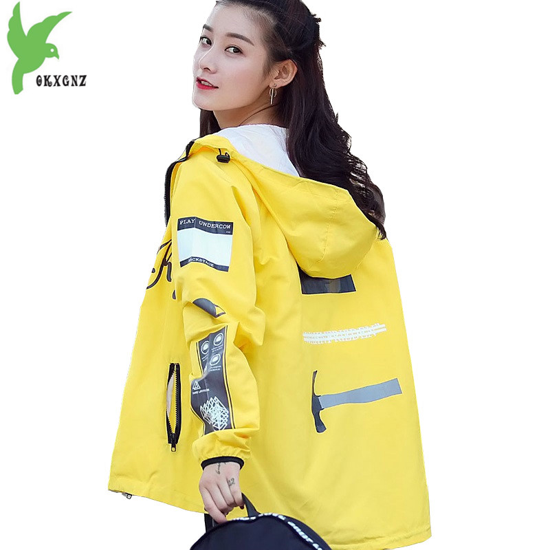 Thin   trench   coat women 2018 spring and summer Plus size Windbreaker print female thin top student Hooded   trench   coat OKXGNZ 1780