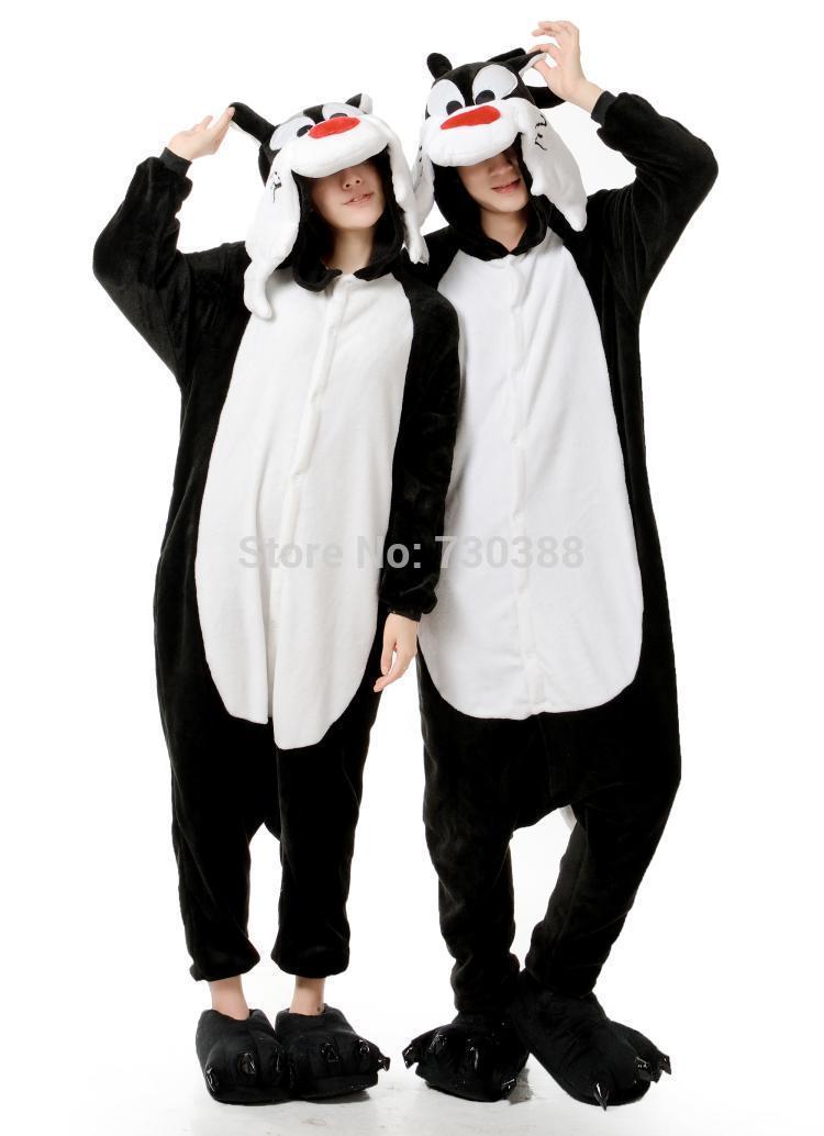 Animal Black Wolf Cartoon Cos Cosplay Pajamas Boy Girl Onesie Jumpsuit Flannel Leisuir Wear Halloween Party