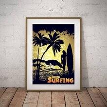 Retro paisaje marino Tropical surf pared imágenes artísticas lienzo pintura, silueta de surfista chica Vintage Póster con impresiones artísticas decoración de pared