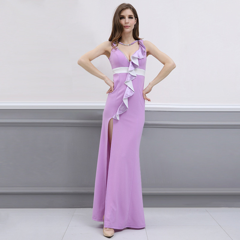 e6147e3217 Parti Summe Longues Femmes À Sexy Robes Patchwork Pink Ete Muxu Volants  Jurk Femme 2018 Robe ...