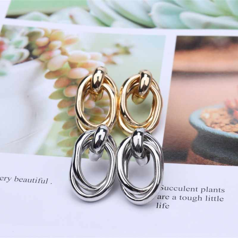 Metal Gold Silver Color Stud Earrings For Women Geometric Wedding Party Vintage Earring Female Bohemian Bijoux