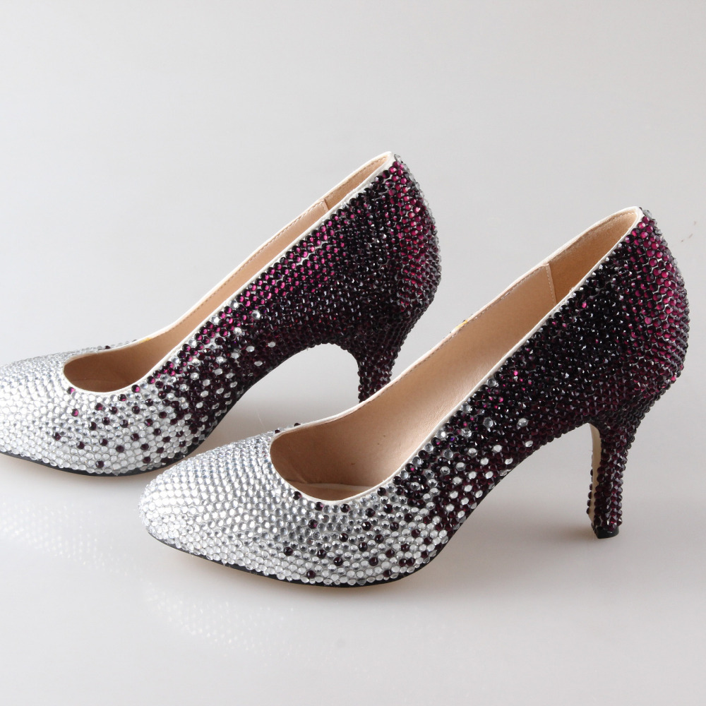Handmade gradient color full rhinestone sparkling pointed toe ...