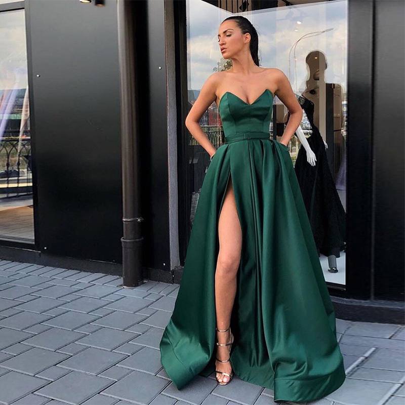 Simple Sweetheart Vestidos De Graduacion Dark Green Front Split Sexy Vestido Formatura Long Horsehair Hem Formal   Prom     Dresses