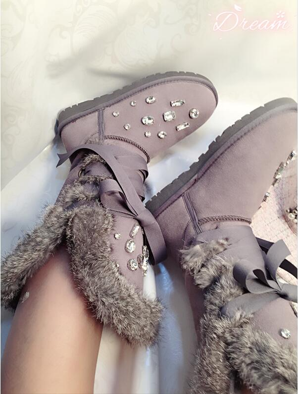 Winter 2017 European station leather rhinestone rabbit fur straps Snow boots high tube lace womens shoes boots Winter 2017 European station leather rhinestone rabbit fur straps Snow boots high tube lace womens shoes boots