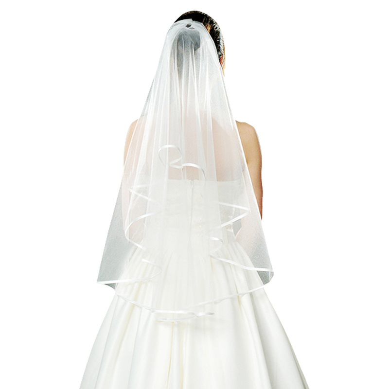 New Fashion High Quality Wedding Mantilla Veils For Bride 1.35M White Solid Color Scarves Romantic Wedding Accessories LB