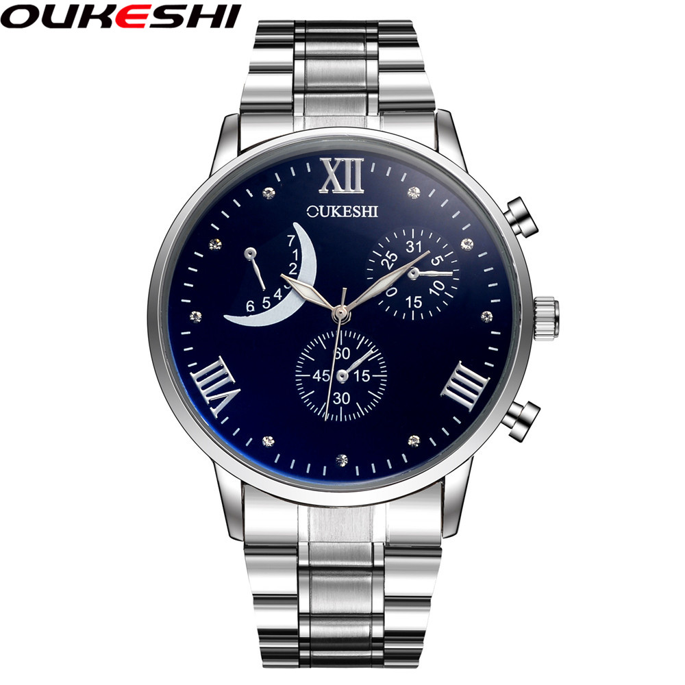 OUKESHI Men Luxury Style Stainless Steel Band Business Casual Quartz Wristwatch Male Clock Relogio Masculino crrju mens black stainless steel band luxury quartz clock male casual business calendar waterproof wristwatch relogio masculino