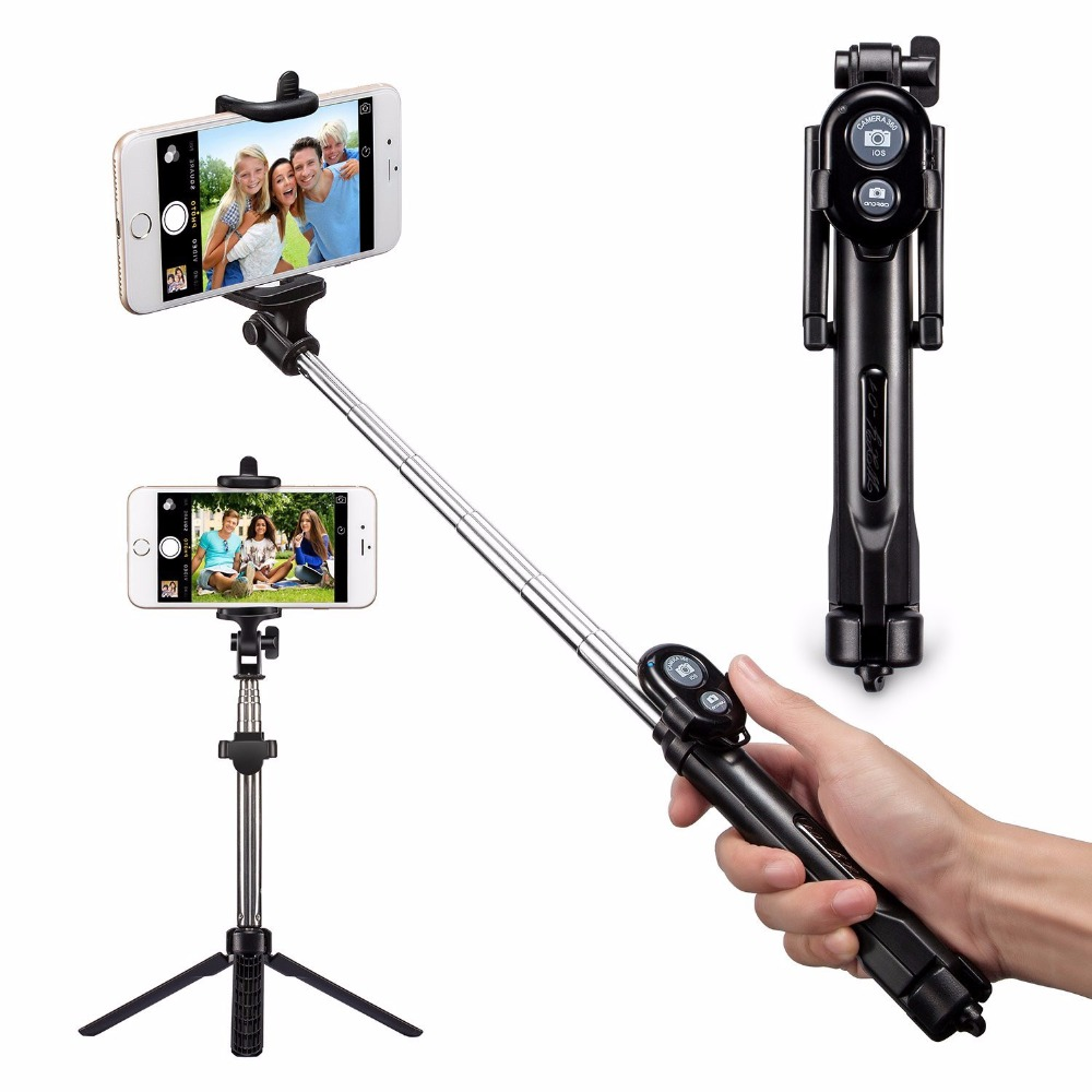 FGHGF New Foldable Tripod Monopod Selfie Stick Bluetooth With Button Pau De Palo Selfie Stick For Android iPhone Perche Selfies