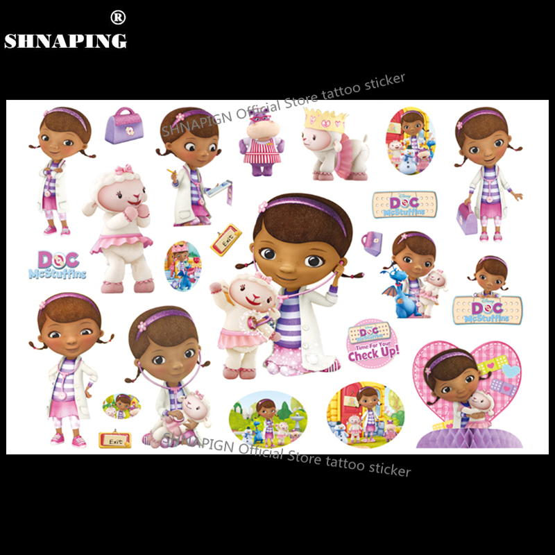 SHNAPIGN Toy Doctor Mcstuffins Niño Tatuaje temporal Body Art Flash Tattoo Stickers 17 * 10cm Etiqueta engomada impermeable del diseño del coche