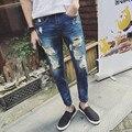 2016 hombres de moda Jeans rasgados flacos enfriar Mens Slim Fit urbana pantalones vaqueros de los pantalones más el tamaño 28-34