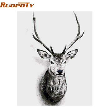RUOPOTY  diy frame DIY Painting By Numbers Deer Animals Nordic Style Wall Art Canvas Painting Hand Painted Unique Gift 40x50