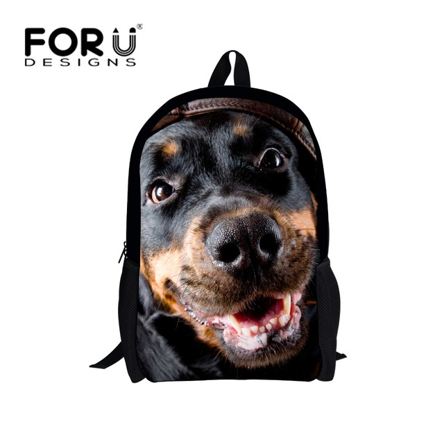 Cool Kids School Bags Animal Dog Cat Schoolbag for High School Boys Girls Black 16inch Children School Book Bags Mochila Escolar