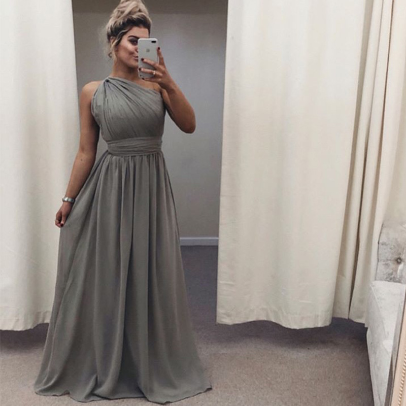 One Shoulder Gray Chiffon   Bridesmaid     Dresses   Long Women Country Wedding Formal Party   Dresses   Vestido De Dama de Honra Gowns