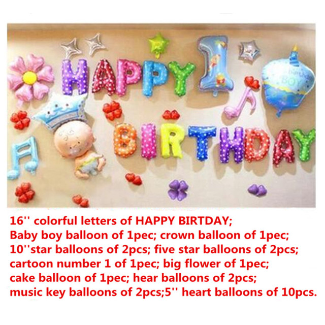 36pcs Happy The 1st Birthday Balloons Setcartoon Flower Cake Foil Balloon Party Decoration Ballon