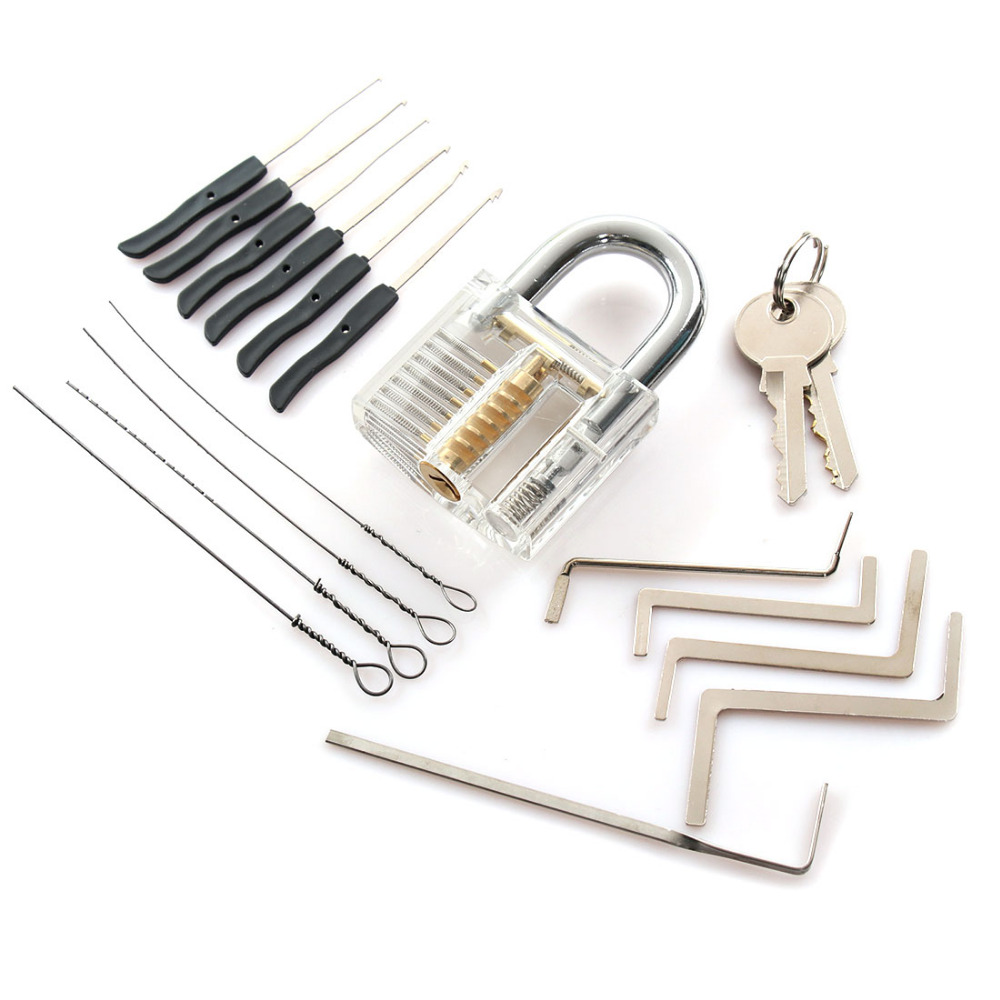 Locksmith Tools Kit 3 In 1 Set Transparent Lock 5pcs Locksmith Wrench Tools 10pcs Locksmith Broken Key Extractor Tools + 2 keys 10pcs 2 8g broken heart