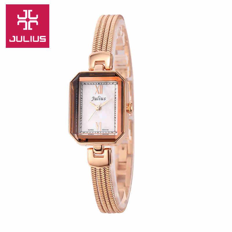 Julius Lady Woman Wrist Watch Quartz Hours Best Fashion Dress Korea Bracelet Band Rectangle Shell Girl