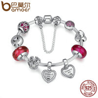 BAMOER 925 Sterling Silver Friendship Forever Heart Pink CZ Safety Chain Women Charm Bracelet Sterling Silver