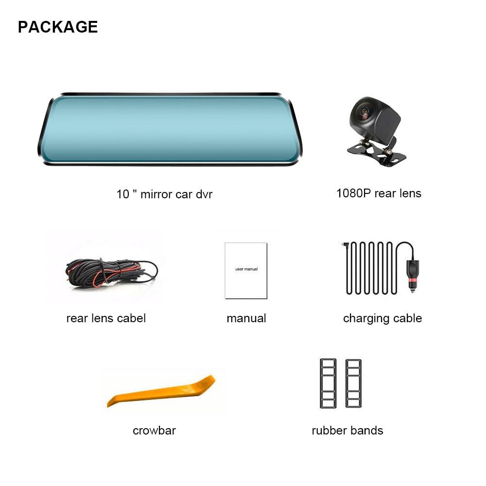 Автомобильный видеорегистратор TAVIN, 10 дюймов, сенсорный экран, зеркало заднего вида, видеорегистратор, Full HD, фронтальная Автомобильная камера + 1080 P, задняя камера, двойной объектив, видео рекордер - 6