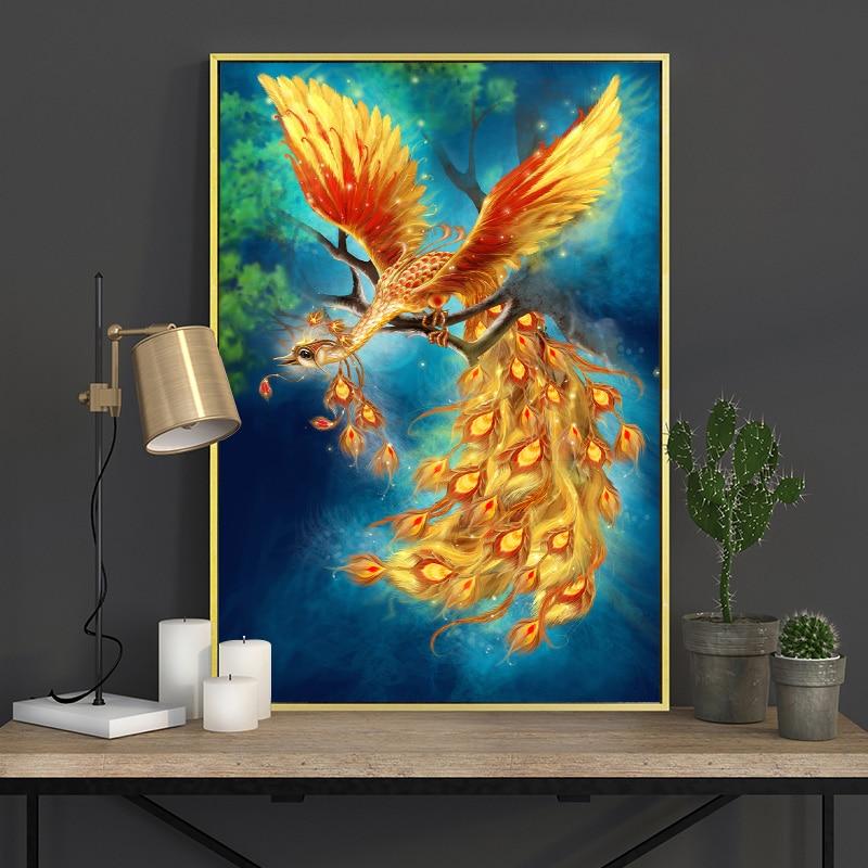 Meian Cross Stitch Embroidery Kits 14CT Phoenix Animal Cotton Thread Painting DIY Needlework DMC New Year Home Decor VS-0011