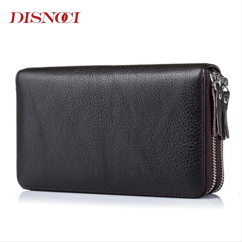 DISNOCI Double Zipper Men Clutch Bags Genuine Leather Men's Long Wallet Cowhide Male Purses Large Capacity Men's Wallets