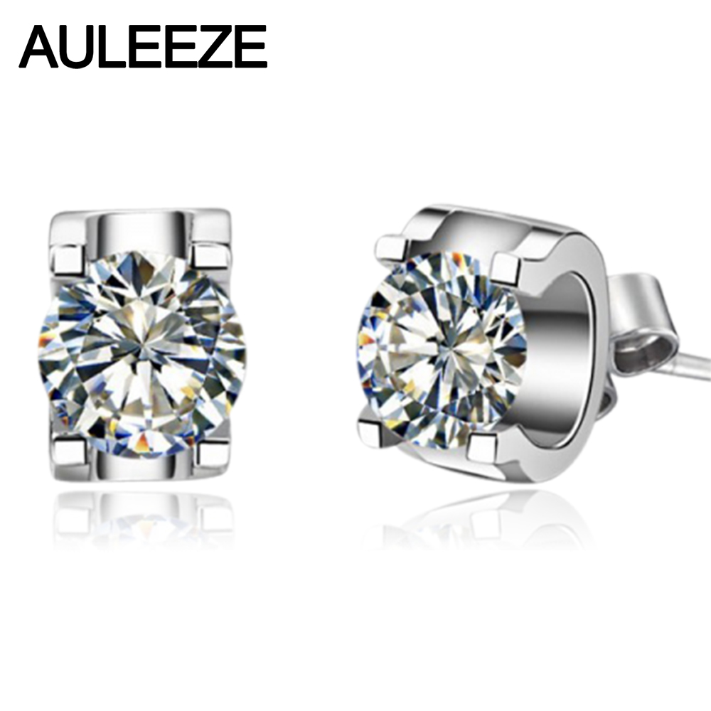 Solid 9k White Gold Stud Earrings Unique Minimal Prong Setting 16cttw  Simulated Diamond Lady Engagement