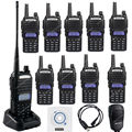Walkie Talkie BAOFENG UV-82 de Doble Banda VHF UHF UV82 10 Pack 5 W FM Doble PTT de Radio de Dos Vías Walkie Talkie Negro Cable + Mic