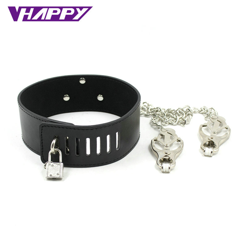 Neck sex Bondage Adult games Collar Necklace Nipple Clamps Sex Products toy For Women Fetish Role Play Erotic toys VP-CR003019A