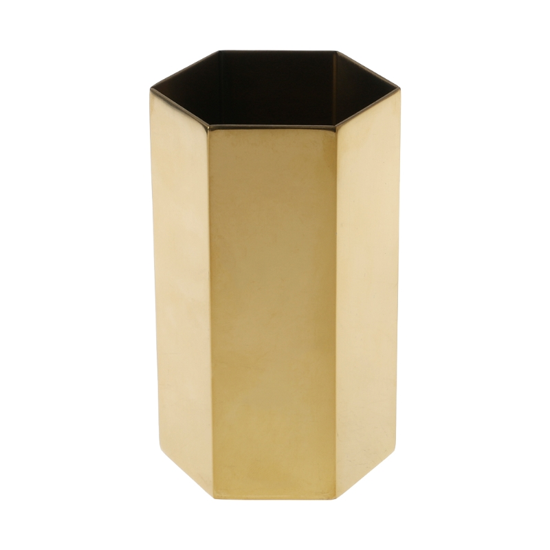 Golden Hexagon Pen Pencil Pot Holder Container Organizer Vase Stationery Gift  Golden Hexagon Pen Pencil Pot Holder Container Organizer Vase Stationery Gift