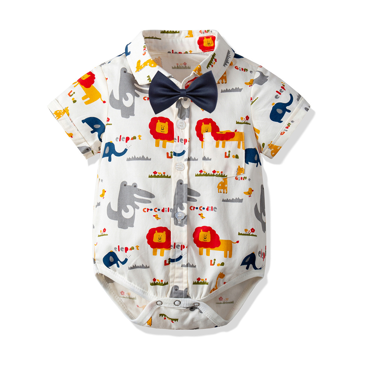 Gentleman Shirt With Bow Baby Rompers Children Cotton Short Sleeve Kid's Cartoon Lion Jumpsuits Newborn Clothes 0-2 Years CA658