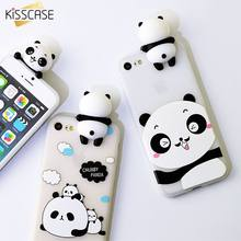 KISSCASE 3D Cute Panda Phone Cases For iPhone 6 6S Plus 7 8 Soft Silicone Cases For iPhone X 7 8 Plus 6 Back Covers With String(China)