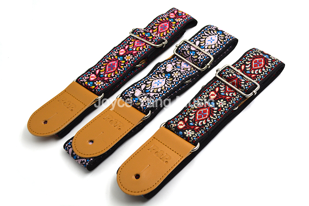 Niko Classic Flowers Acoustic Electric Guitar Strap Woven Embroidery Fabrics Leather Ends Strap Free Shipping