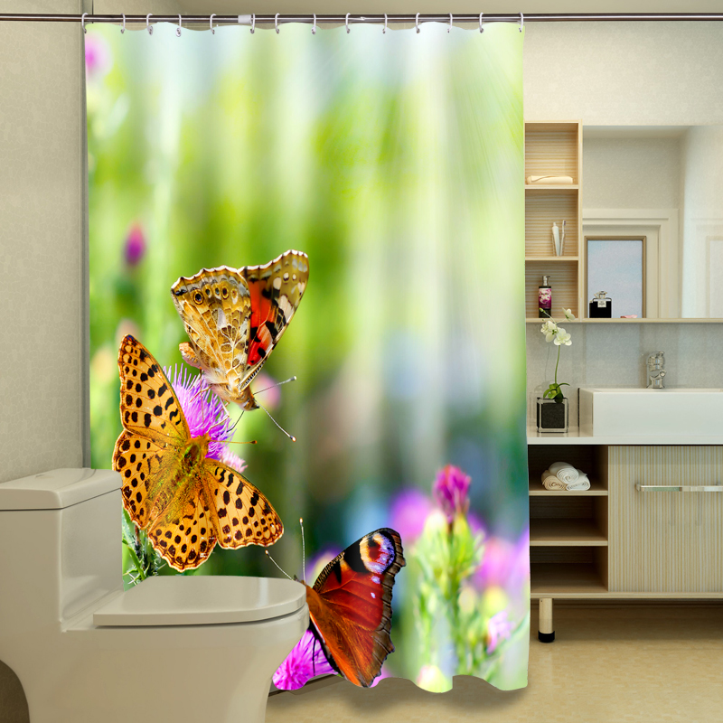 Butterfly 3D Photo Digital Printing Bath Waterproof Fabric Shower Curtains
