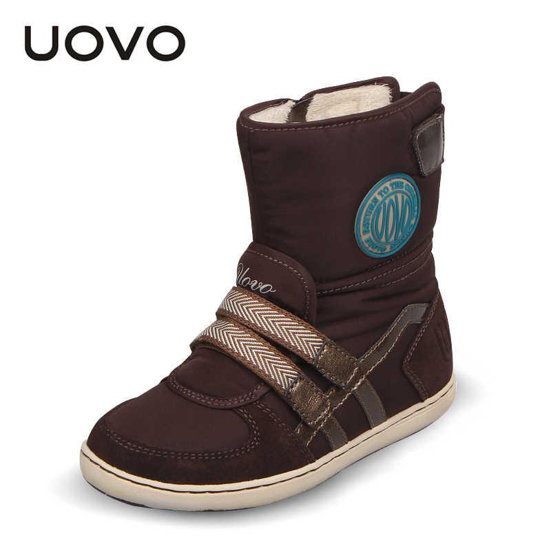 Горячая UOVO Брендовая детская обувь зимние сапоги для девочек и мальчиков модные детские зимние сапоги теплые красивые короткие сапоги для девочек размер 26 #-37 #