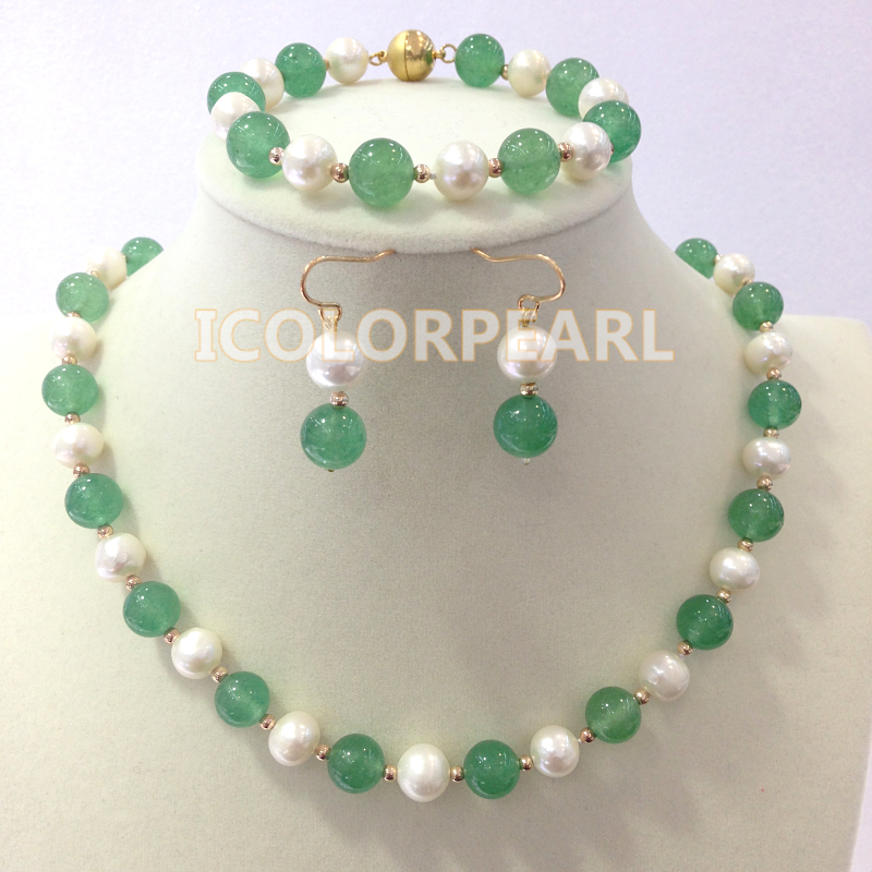 WEICOLOR 9-10mm Round Green Stone And White Nearround Natural Freshwater Pearl Jewelry Set  With Magnet ClaspsWEICOLOR 9-10mm Round Green Stone And White Nearround Natural Freshwater Pearl Jewelry Set  With Magnet Clasps