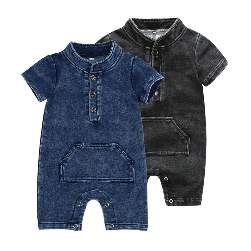 Children's Wear New Baby Boys   Rompers   Knitted Denim Short-Sleeved Baby Jumpsuit Boy's Spring Collar Kids Jumped   Romper
