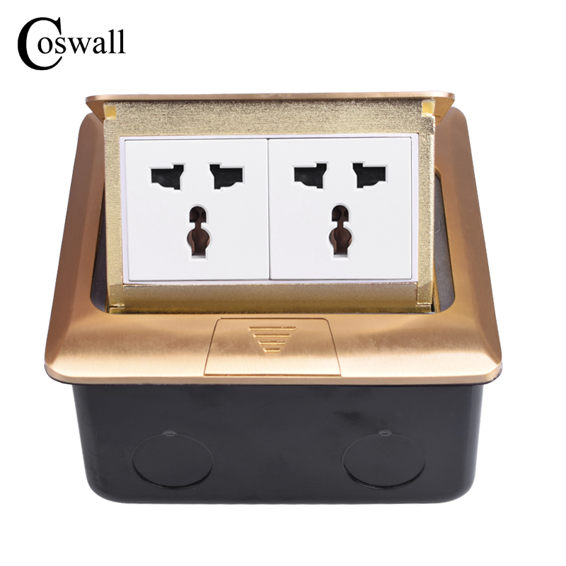 Coswall Pure Copper Thicken Panel Universal Pop Up Floor Socket Double Power Electrical Outlet AC 110