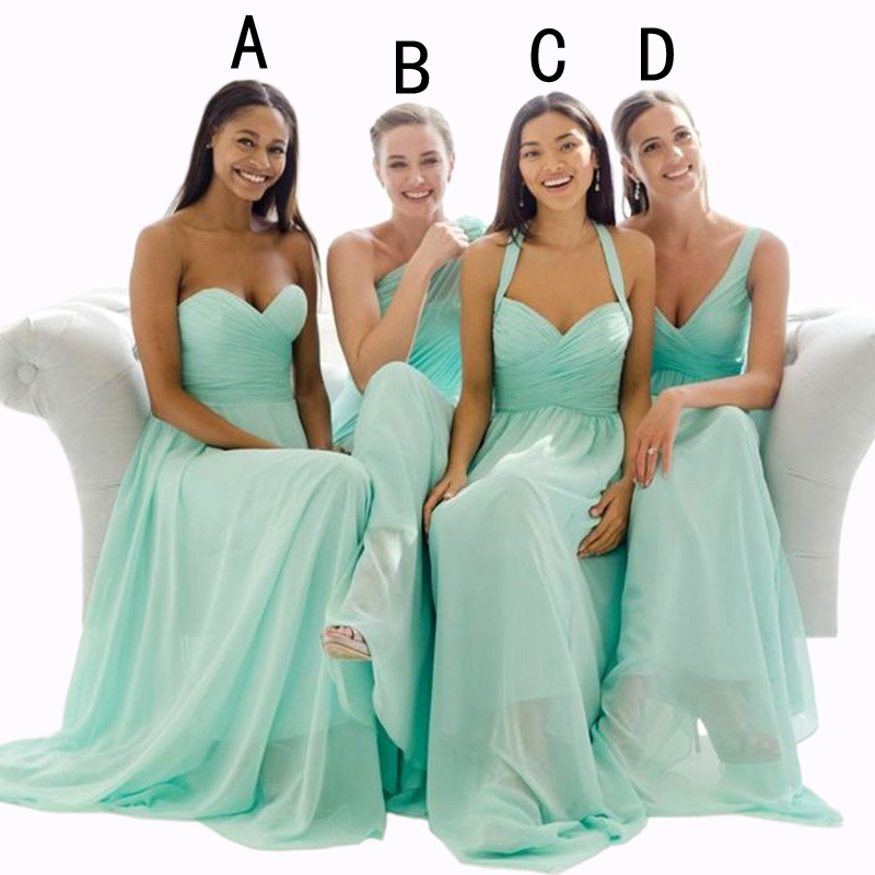 9a3df95ca8 Cheap Mint Green Chiffon Bridesmaid Dresses Long 2016 4 Style Halter ...