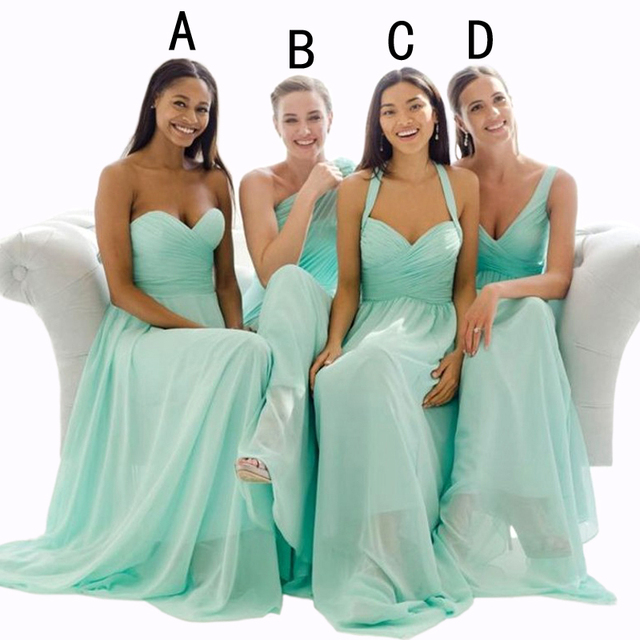 Cheap Mint Green Chiffon Bridesmaid Dresses Long 2016 4 Style Halter One  Shouler Sheath vestido de 4643a186dc1a