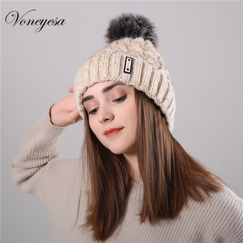 Voneyes Korean Style Winter New Hat Women New Style Fashion Knit Cap Wool Velvet Warm Ladies Pom-pom   Skullies     Beanies   2018New