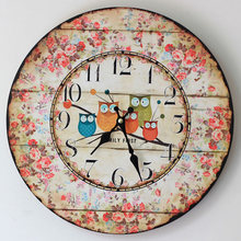 Europe Style Lovely Five Owl Colored Drawing Round Wooden Wall Clock Chic Floral Mute Electric Clocks for Livingroom Restaurant