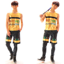 Summer Men's Sequined Vest costumes Shorts clothing set Nightclub male singer DJ hip-hop dance wear