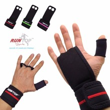 RUNTOP Workout Fitness GYM Weight Lifting Crossfit Gloves Leather Hand Grips Pad Palm Protect Wrist Support Wrap Strap Brace